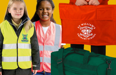 HI Viz Vests and School Book Bags, screen printed